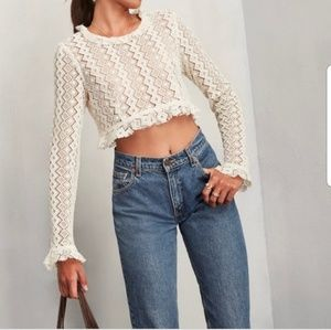 Reformation Foxley Crochet Lace Crop Top Sweater